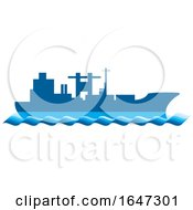 Silhouetted Cargo Ship And Waves