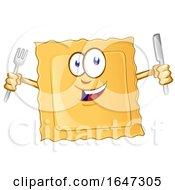 Cartoon Ravioli Mascot Holding Silverware