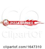 Pizza Mascot On An Express Banner