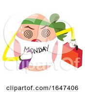 Poster, Art Print Of Egg Character Wearing A Monday Bib