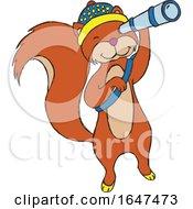 Squirrel Using A Spyglass