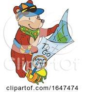 Cartoon Adventurous Bear Reading A Map by Cherie Reve
