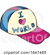 Cartoon Baseball Hat With I Love World Text by Cherie Reve