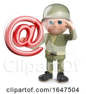 3d Army Soldier Character Holding An Email Address Symbol by Steve Young