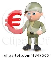 3d Army Soldier Character With Euro Currency Symbol by Steve Young