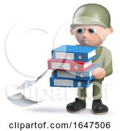 3d Army Soldier Character Carrying Folders And Dropping Some Documents by Steve Young