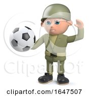 3d Army Soldier Character Holding A Soccer Ball by Steve Young