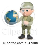 3d Army Soldier Character Holding A Globe Of The Earth by Steve Young