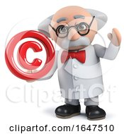 3d Mad Scientist Character Holding A Copyright Symbol