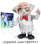 3d Mad Scientist Character Holding A Credit Card