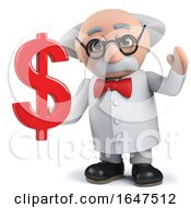 3d Mad Scientist Character Holding US Dollar Currency Symbol by Steve Young