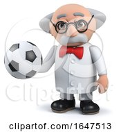 3d Mad Scientist Character Holding A Soccer Ball