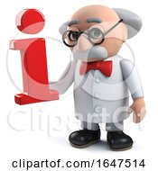 3d Mad Scientist Character Holding An Information Symbol by Steve Young