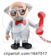 3d Mad Scientist Character Answering The Phone
