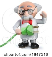 3d Mad Scientist Character Holding A Green Power Lead With Plug