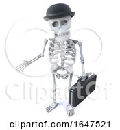 3d Skeleton Businessman In Bowler Hat And Carrying Briefcase
