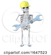 3d Skeleton Goes To Work In Hard Hat And Carrying His Trusty Spanner by Steve Young