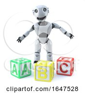 3d Robot Teachs Reading With Alphabet Blocks