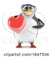 Poster, Art Print Of 3d Nerd Geek Penguin Character Holding A Romantic Red Heart