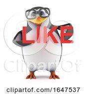 3d Academic Penguin Holding The Word Like