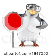 3d Nerd Geek Penguin Character With A Blank Road Sign
