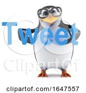 3d Nerd Geek Penguin Character Holding The Word Tweet