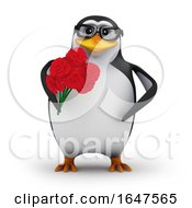 Poster, Art Print Of 3d Penguin Holding Roses