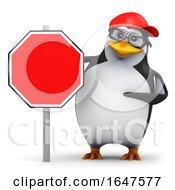 3d Penguin Road Sign