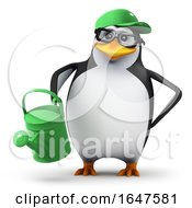 3d Penguin In Green Baseball Cap Waters His Garden by Steve Young