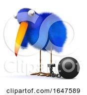 3d Bluebird Has A Ball And Chain