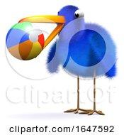 3d Bluebird Plays Ball At The Beach