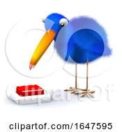 3d Bluebird Wants To Push The Red Button by Steve Young