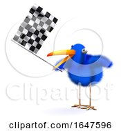 3d Blue Bird Waves The Checkered Flag by Steve Young