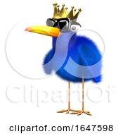3d Bluebird Wears A Gold Crown