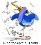 3d Cartoon Blue Bird In A Cash Windfall