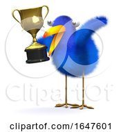 3d Bluebird With A Gold Trophy by Steve Young