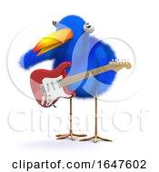 3d Cartoon Blue Bird Playing Electric Guitar