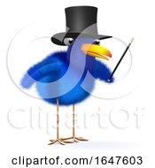 3d Cartoon Blue Bird Magician Mentalist Wearing A Top Hat And Holding A Wand