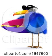 3d Blue Bird With Surfboard by Steve Young