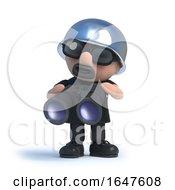 3d Biker Holding A Pair Of Binoculars