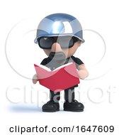 3d Biker Reading A Book