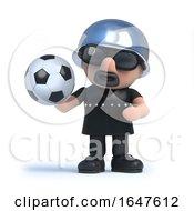 3d Biker Holding A Soccer Ball