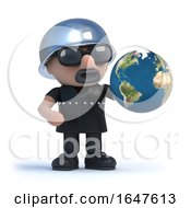 3d Biker With Globe Of The Earth