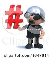 3d Funny Cartoon Biker Character Has A Hash Tag Symbol