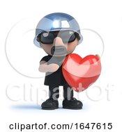 Poster, Art Print Of 3d Biker Holding A Red Heart