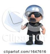3d Biker Holding An Envelope