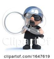 3d Biker Looks Though A Magnifying Glass