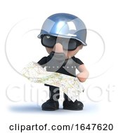 3d Biker Looks At The Map