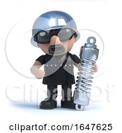 3d Biker Holding A Shock Absorber Suspension Unit by Steve Young