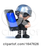 3d Biker Using His New Smartphone Tablet Device